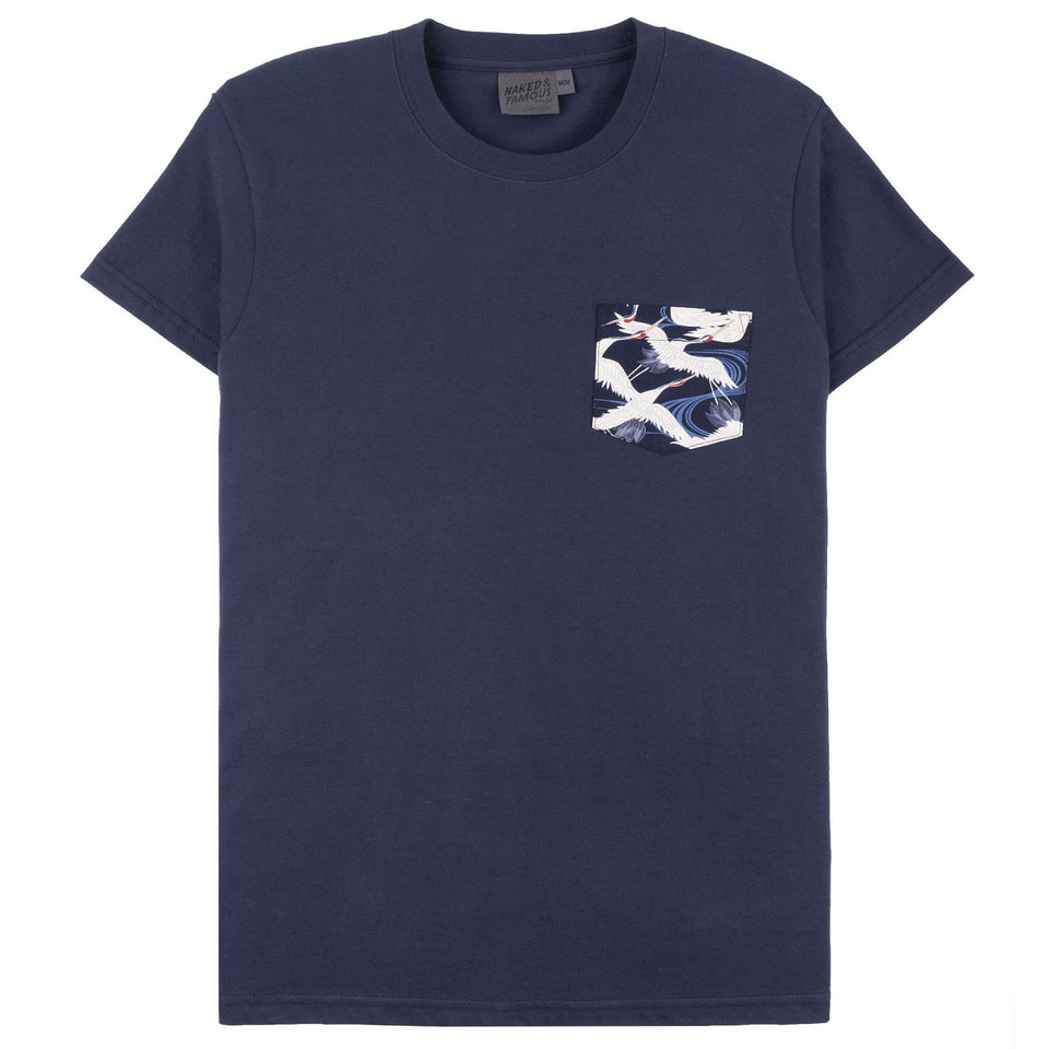 Pocket Tee Navy x Slub Cranes Blue