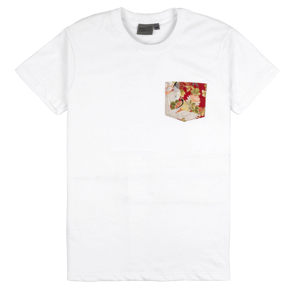 Circular Pocket Tee Japan Cranes White - marsclothing