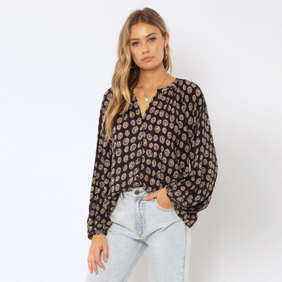 Charmer Woven Top Black
