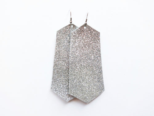 All That Glitters Silver Jewel Genuine Leather Earring