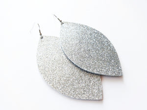 All That Glitters Silver Leaf Genuine Leather Earring