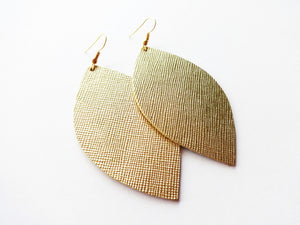 True Gold Saffiano Leaf Genuine Leather Earrings