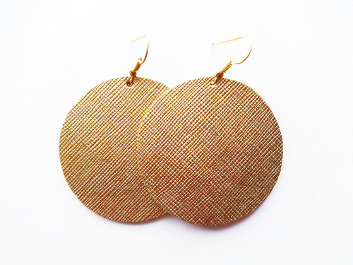 True Gold Saffiano Round Genuine Leather Earring