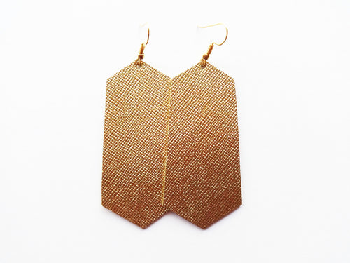 True Gold Saffiano Jewel Genuine Leather Earrings