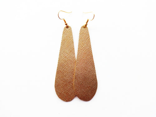True Gold Saffiano Teardrop Genuine Leather Earring