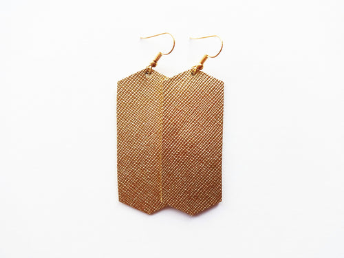 True Gold Saffiano Crystal Genuine Leather Earring