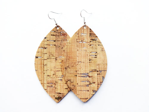 Silver Flecked Cork Leaf Vegan Leather Earrings