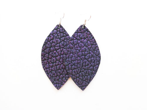 Purple Pebbles Leaf Genuine Leather Earring