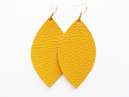 Mustard Yellow Leaf Vegan Leather Earrings