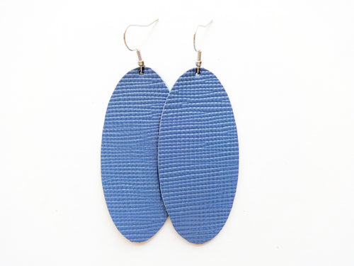 Denim Blue Saffiano Oval Genuine Leather Earring