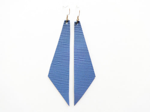 Denim Blue Geometric Genuine Leather Earring