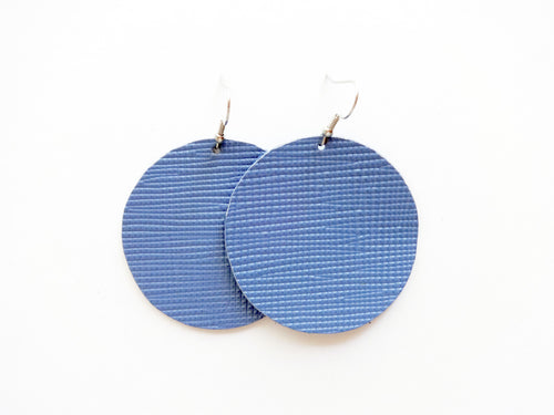 Denim Blue Saffiano Round Genuine Leather Earring