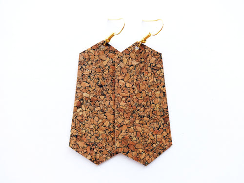 Natural Cork Jewel Vegan Leather Earrings