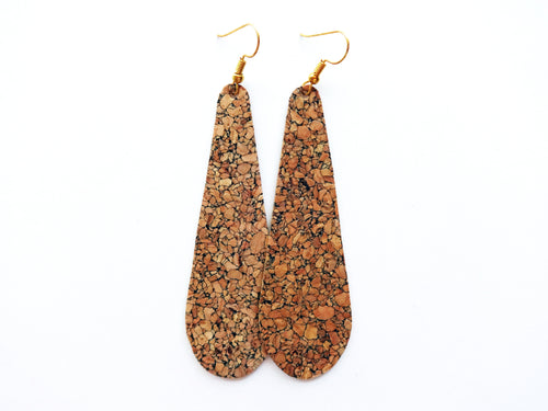 Natural Cork Teardrop Vegan Leather Earrings