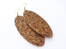 Natural Cork Oval Vegan Leather Earrings