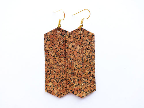 Natural Cork Crystal Vegan Leather Earring