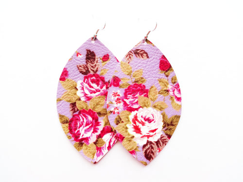 Lavender Floral Leaf Vegan Leather Earrings