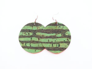 Green Tree Cork Round Vegan Leather Earring