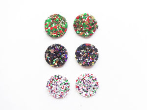 Round Glitter Stud Vegan Leather Earring