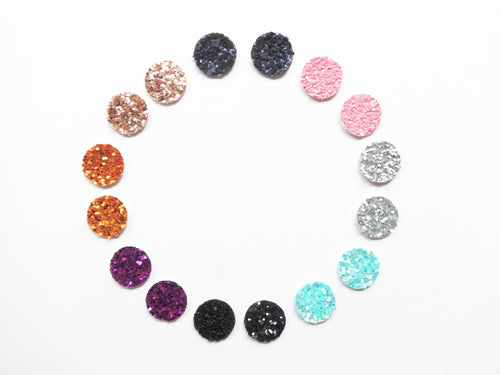 Mini Round Glitter Stud Vegan Leather Earring
