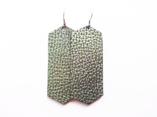 Green Dino Crystal Genuine Leather Earring