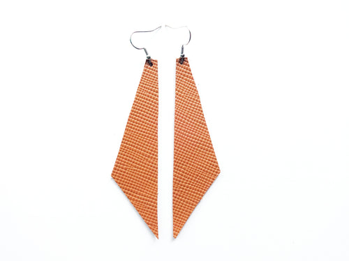 Camel Saffiano Geometric Genuine Leather Earring