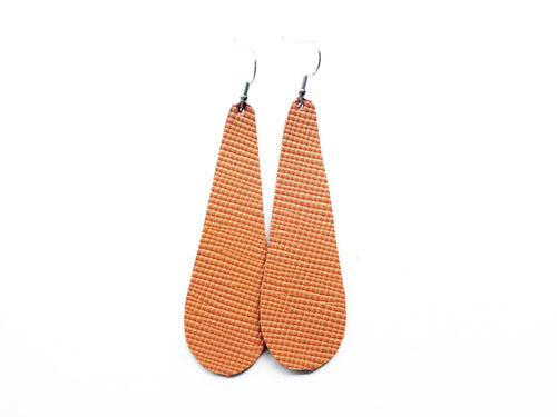 Camel Saffiano Teardrop Genuine Leather Earring
