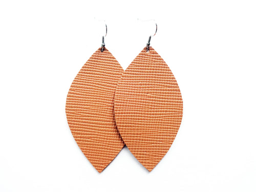 Camel Saffiano Leaf Genuine Leather Earring