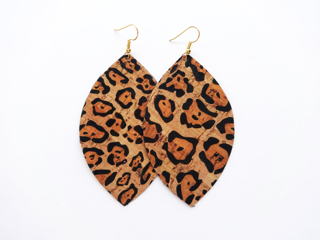 Leopard Print Cork Leaf Vegan Leather Earrings