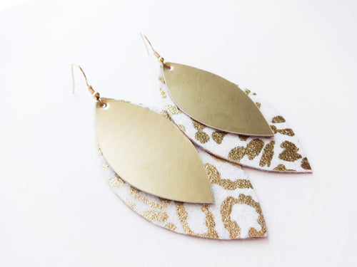 Golden Leopard Double Layer Leaf Wool Faux Leather Earring