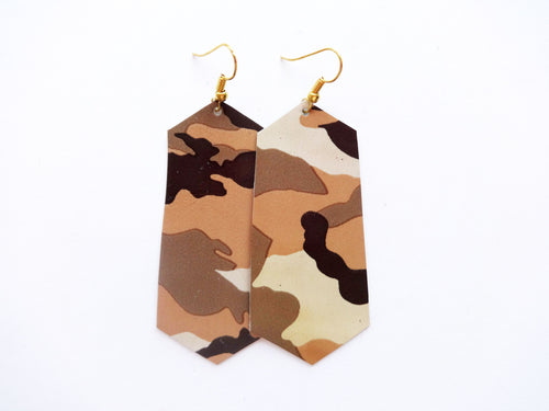 Sandy Camouflage Jewel Genuine Leather Earrings