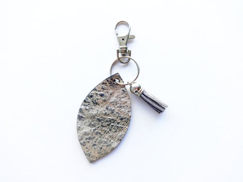 Silver Leaf Genuine Leather Keychain Light Grey Tassle