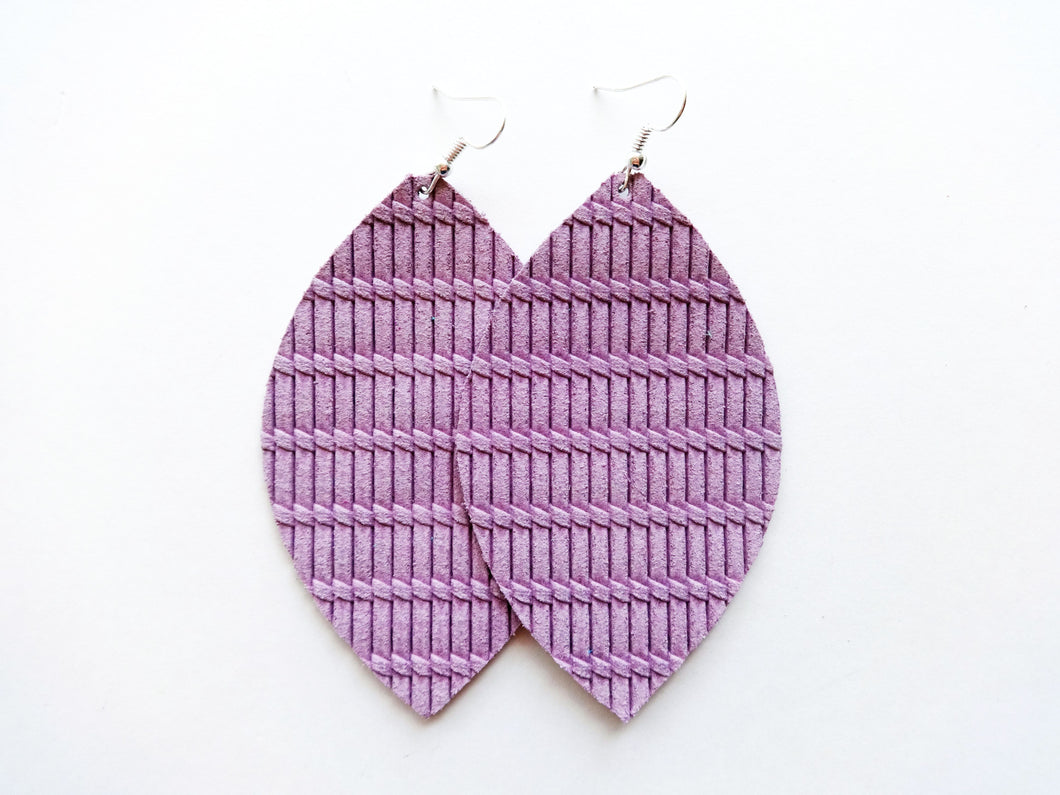 Lilac Purple Knot Leaf Genuine Leather Earring