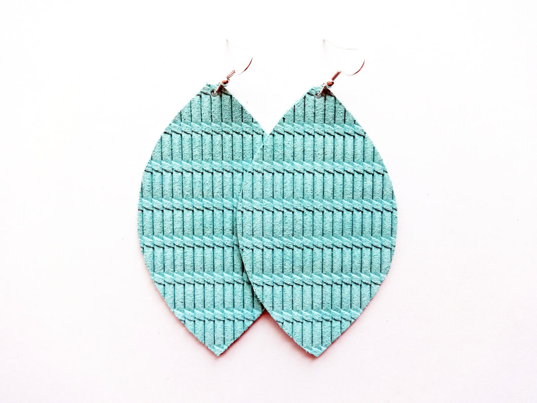Mint Green Knot Leaf Genuine Leather Earring