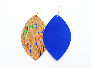 Gold Flecked Rainbow Cork Leaf Vegan Leather Earrings
