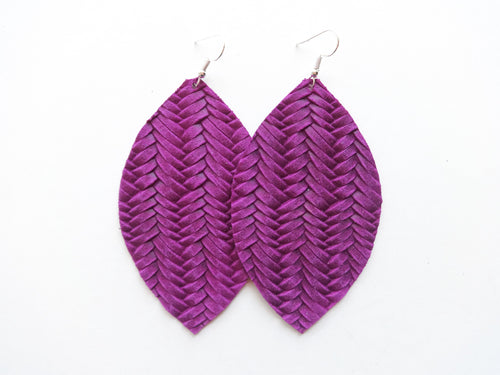 Grape Purple Braided Leaf Genuine Leather Earring