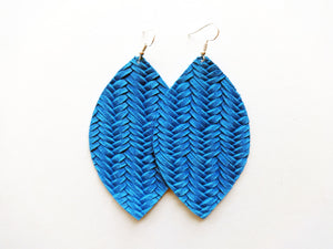 Royal Blue Braided Leaf Genuine Leather Earring