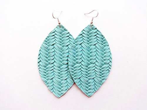Mint Green Braided Leaf Genuine Leather Earring