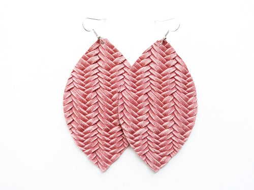 Dusty Rose Braided Leaf Genuine Leather Earring