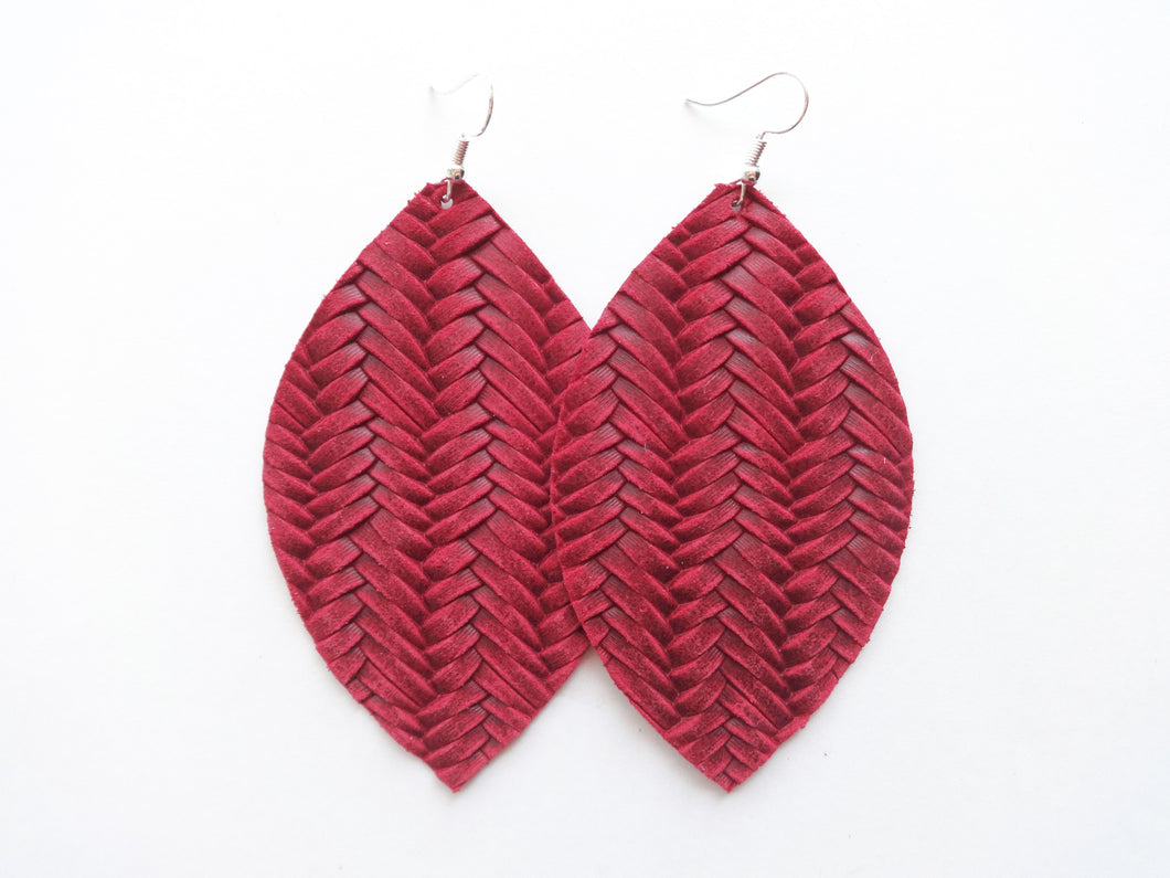 Cranberry Red Braided Leaf Genuine Leather Earring