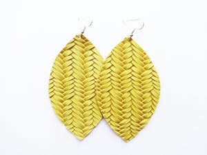 Dandelion Yellow Braided Leaf Genuine Leather Earring