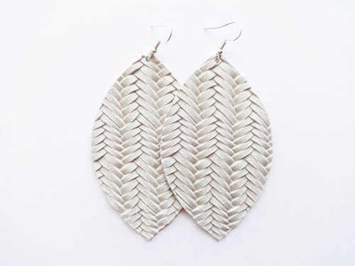 Oatmeal Braided Leaf Genuine Leather Earring