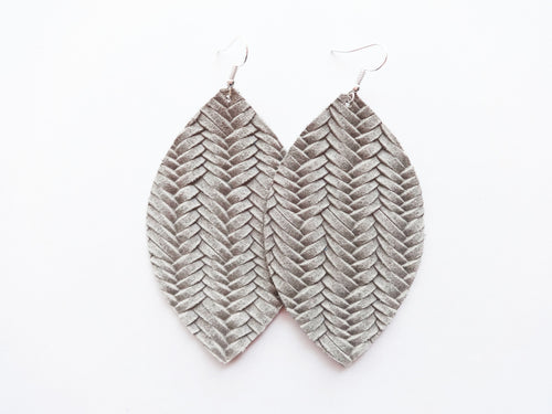 Fog Grey Braided Leaf Genuine Leather Earring