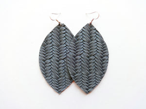 Charcoal Grey Braided Leaf Genuine Leather Earring