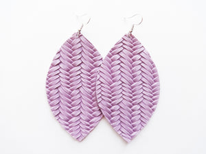 Lilac Purple Braided Leaf Genuine Leather Earring