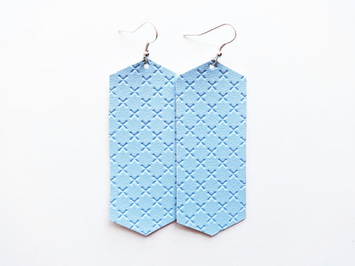 Baby You're Blue Crystal Vegan Leather Earring
