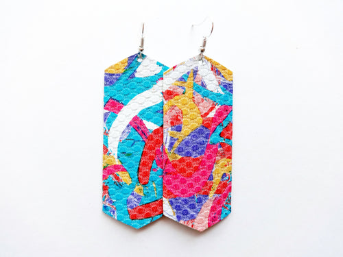 Abstract Colorful Crystal Genuine Leather Earring