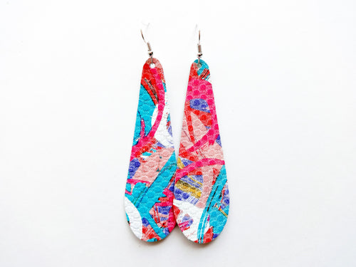 Abstract Colorful Teardrop Genuine Leather Earring
