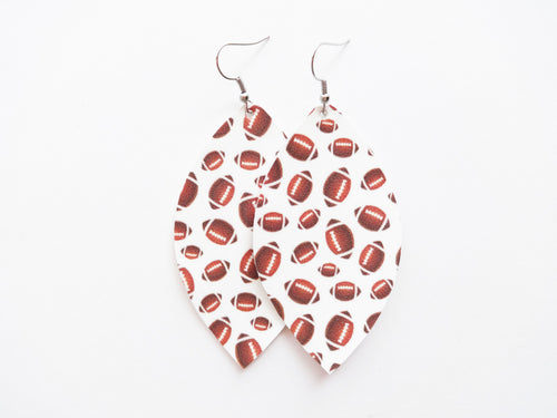 Football Leaf Vegan Leather Earring