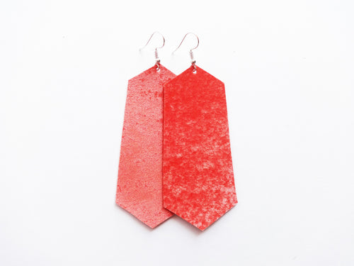 Coral Velvet Jewel Vegan Leather Earring